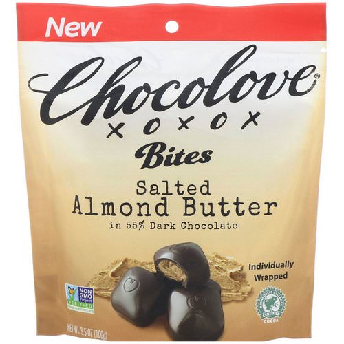 Chocolove, Bites, Salted Almond Butter in 55% Dark Chocolate, 3.5 oz (100 g) Review