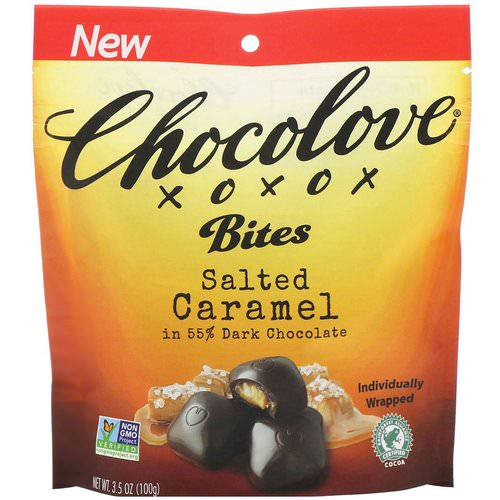 Chocolove, Bites, Salted Caramel in 55% Dark Chocolate, 3.5 oz (100 g) Review