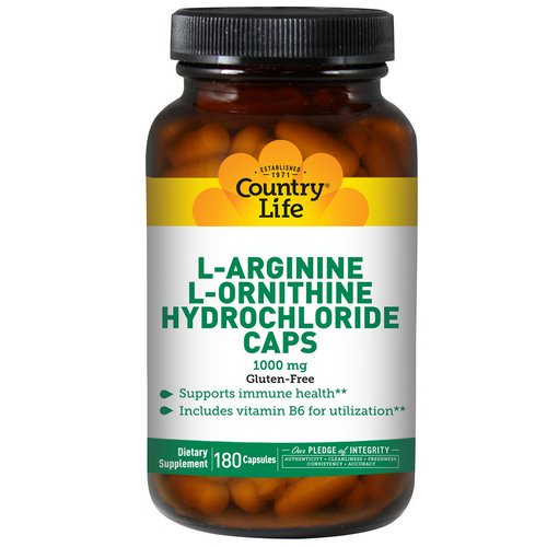 Country Life, L-Arginine L-Ornithine Hydrochloride Caps, 1000 mg, 180 Capsules Review