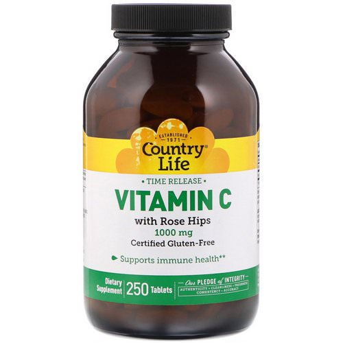 Country Life, Vitamin C, with Rose Hips, 1000 mg, 250 Tablets Review