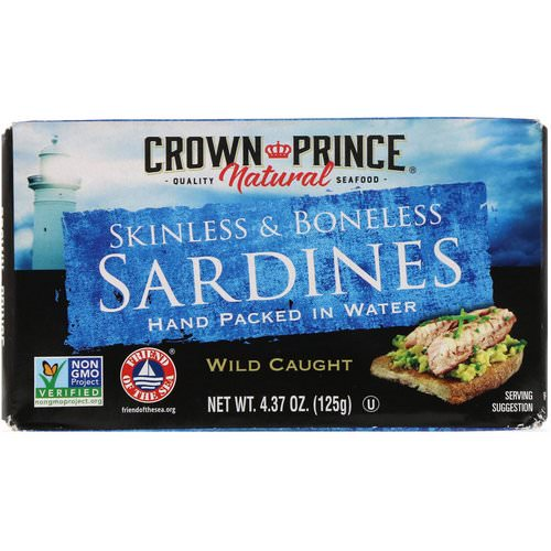 Crown Prince Natural, Skinless & Boneless Sardines, In Water, 4.37 oz (125 g) Review