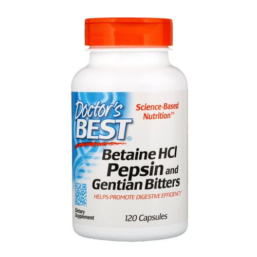 Doctor's Best, Betaine HCL Pepsin & Gentian Bitters, 120 Capsules Review