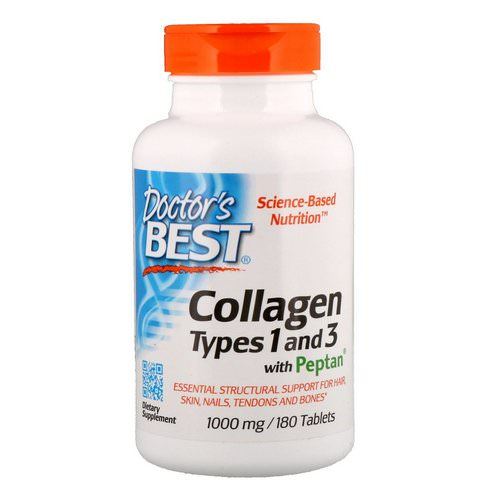 Doctor's Best, Collagen Types 1 & 3 with Peptan, 1,000 mg, 180 Tablets Review
