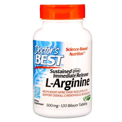 Doctor's Best, Sustained Plus Immediate Release L-Arginine, 500 mg, 120 Bilayer Tablets Review