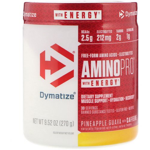 Dymatize Nutrition, AminoPro with Energy, Pineapple Guava with Caffeine, 9.52 oz (270 g) Review