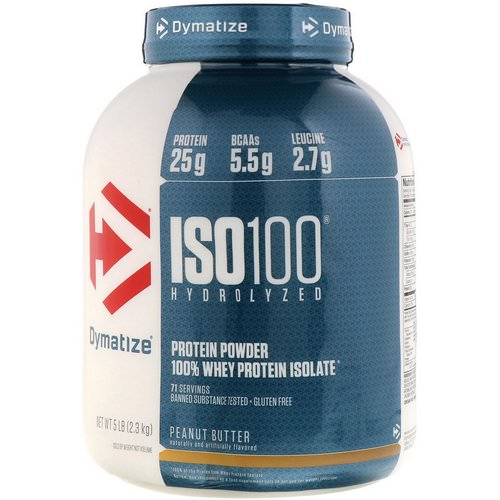 Dymatize Nutrition, ISO 100 Hydrolyzed, 100% Whey Protein Isolate, Peanut Butter, 5 lb (2.3 kg) Review
