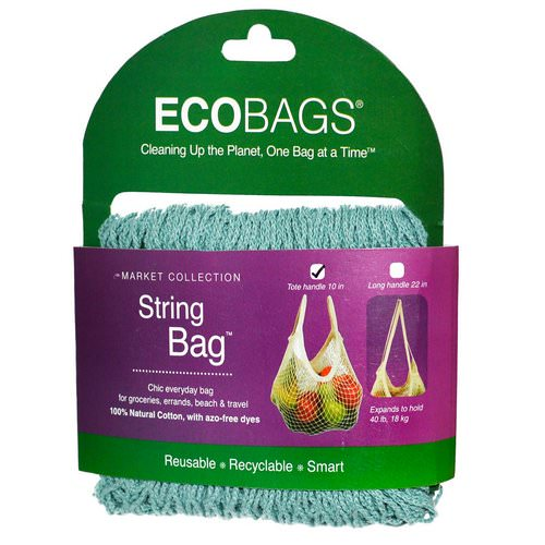ECOBAGS, Market Collection, String Bag, Tote Handle 10 in, Washed Blue, 1 Bag Review