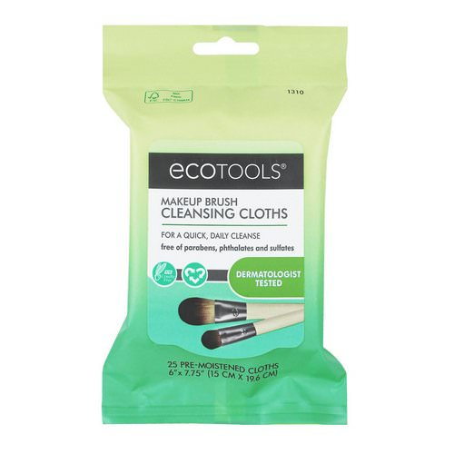 EcoTools, Makeup Brush Cleansing Cloths, 25 Pre-Moistened Cloths Review