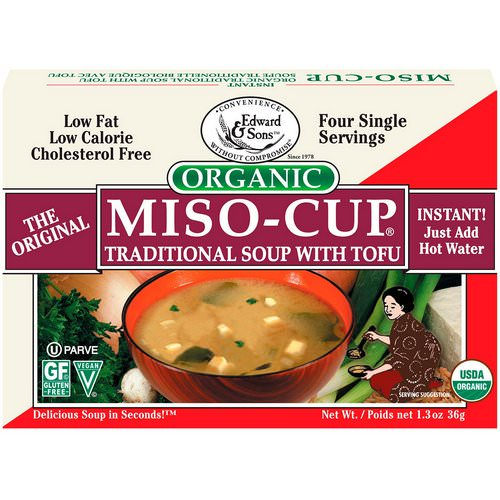 Edward & Sons, Organic Miso-Cup, Traditional Soup with Tofu, 4 Single Serving Envelops, 9 g Each Review