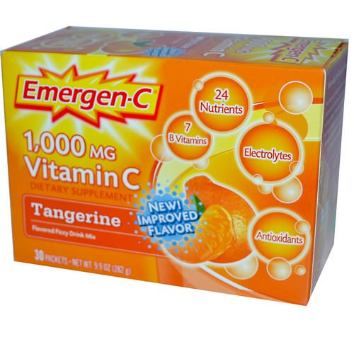 Emergen-C, Vitamin C, Flavored Fizzy Drink Mix, Tangerine, 1,000 mg, 30 Packets, 9.4 g Each Review