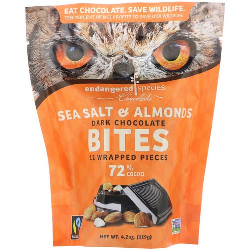 Endangered Species Chocolate, Dark Chocolate Bites, Sea Salt & Almonds, 12 Wrapped Pieces, 4.2 oz (119 g) Review