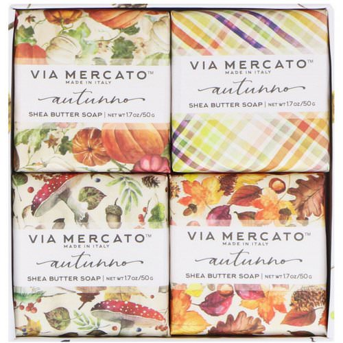 European Soaps, Via Mercato, Autumno, Shea Butter Soaps Set, 4 Soaps, 50 g Each Review