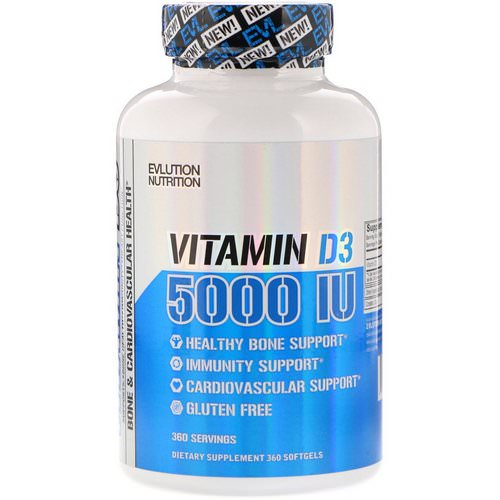 EVLution Nutrition, Vitamin D3, 5000 IU, 360 Softgels Review