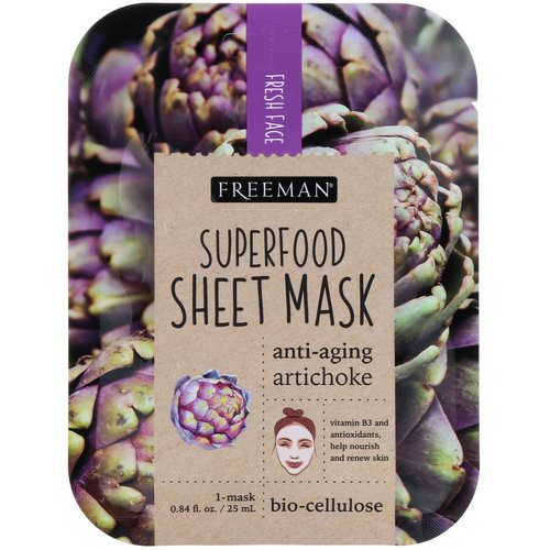 Freeman Beauty, Superfood Sheet Mask, Anti-Aging Artichoke, 1 Mask, 0.84 fl oz (25 ml) Review