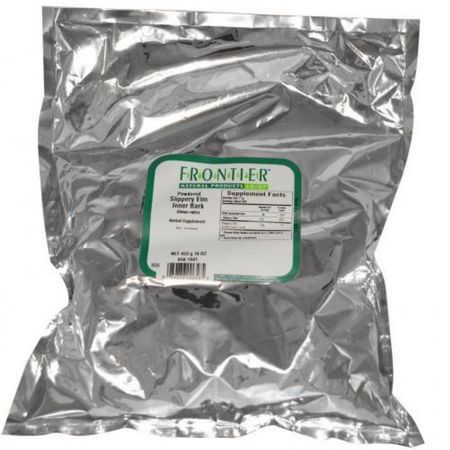 Halm, Homeopati, Örter, Örtte Te: Frontier Natural Products, Powdered Slippery Elm Inner Bark, 16 oz (453 g)