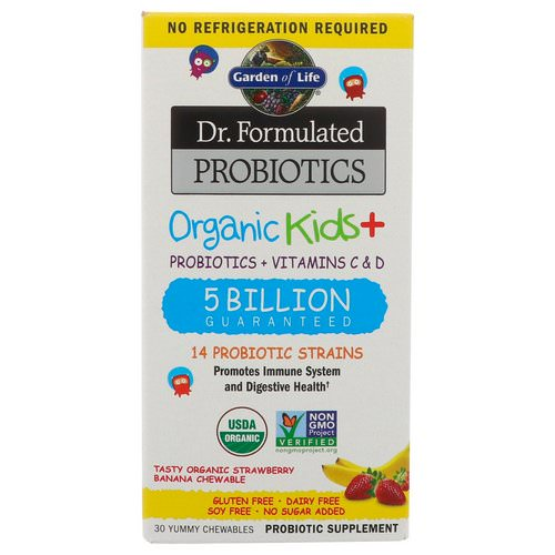 Garden of Life, Dr. Formulated Probiotics Organic Kids+, Probiotics + Vitamins C & D, 5 Billion, Tasty Organic Strawberry Banana, 30 Yummy Chewables Review