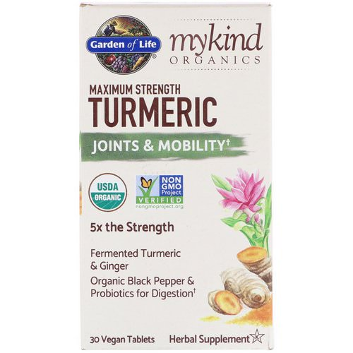 Garden of Life, MyKind Organics, Maximum Strength Turmeric, Joints & Mobility, 30 Vegan Tablets Review