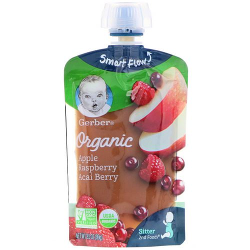 Gerber, Smart Flow Sitter 2nd Foods, Organic, Apple, Raspberry, Acai Berry, 3.5 oz (99 g) Review