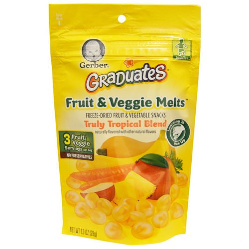 Gerber, Graduates, Fruit & Veggie Melts, Truly Tropical Blend, 1.0 oz (28 g) Review