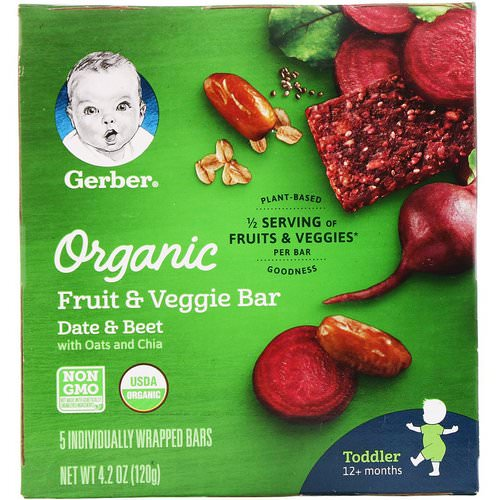 Gerber, Organic Fruit & Veggie Bar, 12+ months, Date & Beet, 5 Individually Wrapped Bars, 4.2 oz (120 g) Review