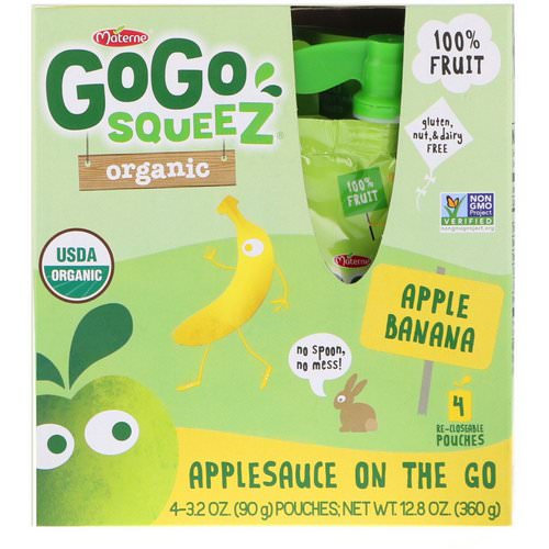 GoGo SqueeZ, Organic Applesauce, Apple Banana, 4 Pouches, 3.2 oz (90 g) Each Review