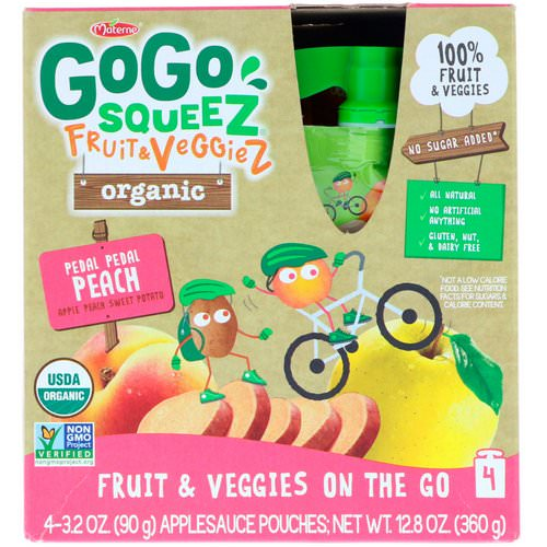 GoGo SqueeZ, Organic Fruit and VeggieZ, Pedal Pedal Peach, 4 Pouches, 3.2 oz (90 g) Each Review