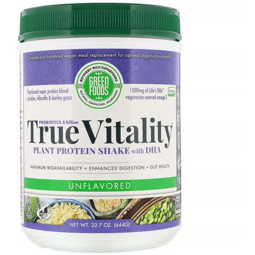 Green Foods, True Vitality, Plant Protein Shake with DHA, Unflavored, 1.4 lbs (644 g) Review