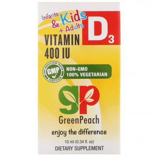 GreenPeach, Infants & Kids + Adults, Liquid Vitamin D3, 400 IU, 0.34 fl oz (10 ml) Review