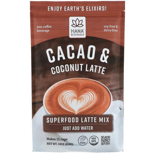 Hana Beverages, Cacao & Coconut Latte, Non-Coffee Superfood Beverage, 16 oz (454 g) Review