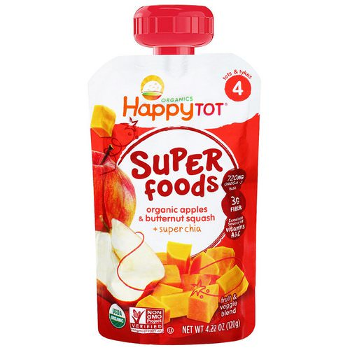 Happy Family Organics, Happytot Superfoods, Apples & Butternut Squash + Super Chia, 4.22 oz (120 g) Review