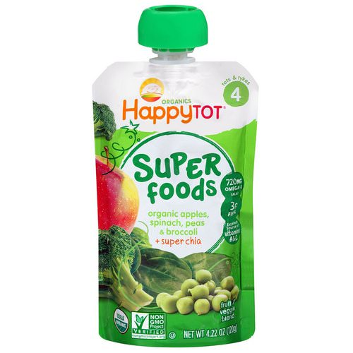 Happy Family Organics, Happytot, Superfoods, Organic Apples, Spinach, Peas & Broccoli + Super Chia, 4.22 oz (120 g) Review