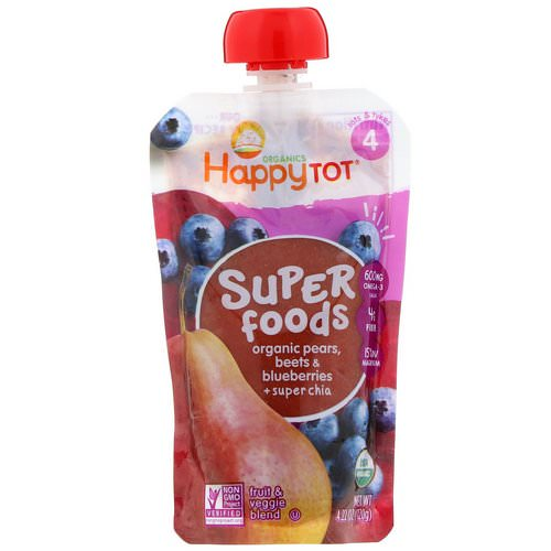 Happy Family Organics, Happytot, Superfoods, Organic Pears, Beets & Blueberries plus Super Chia, 4.22 oz (120 g) Review