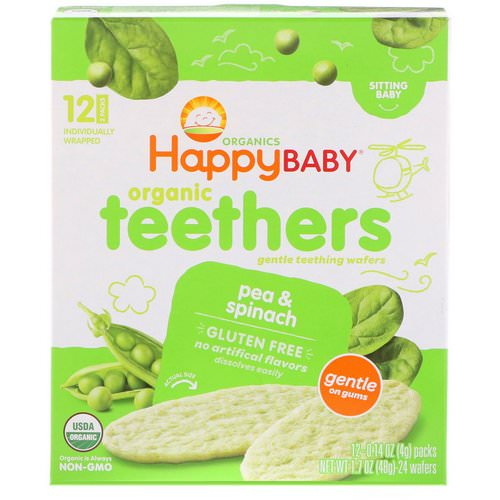Happy Family Organics, Organic Teethers, Gentle Teething Wafers, Sitting Baby, Pea & Spinach, 12 Packs, 0.14 oz (4 g) Each Review