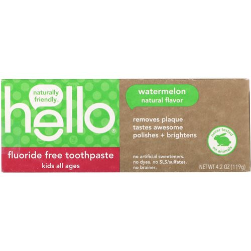Hello, Kids, Fluoride Free Toothpaste, Watermelon, 4.2 oz (119 g) Review