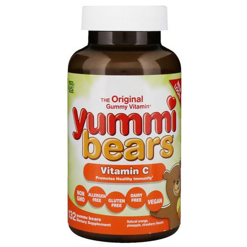 Hero Nutritional Products, Yummi Bears, Vitamin C, Natural Orange, Pineapple, Strawberry, 132 Yummi Bears Review