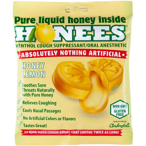 Honees, Cough Drops, Honey Lemon, 20 Cough Drops Review