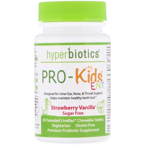 Hyperbiotics, PRO-Kids ENT, Strawberry Vanilla, Sugar Free, 45 Patented LiveBac Chewable Tablets Review