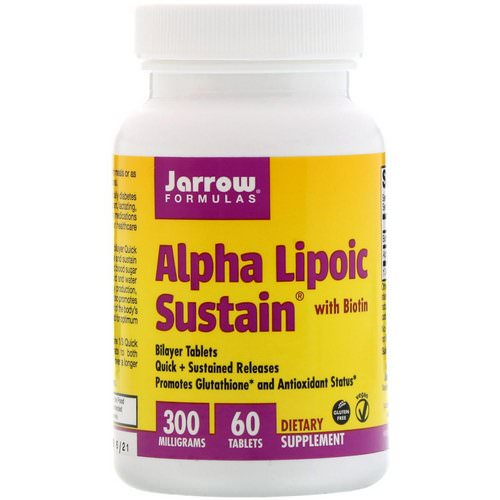Jarrow Formulas, Alpha Lipoic Sustain 300, with Biotin, 300 mg, 60 Sustain Tablets Review
