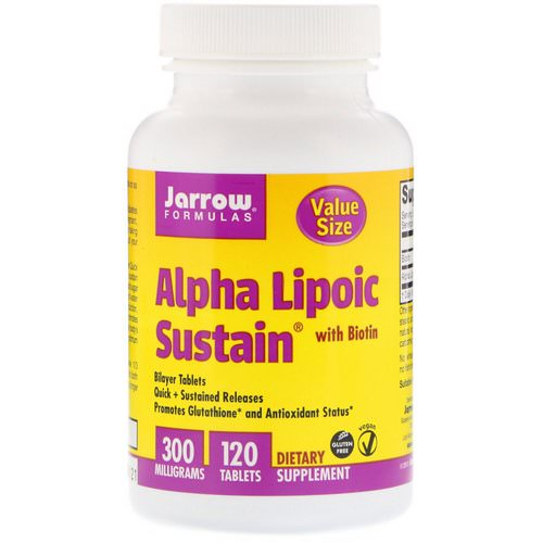 Jarrow Formulas, Alpha Lipoic Sustain, with Biotin, 300 mg, 120 Tablets Review
