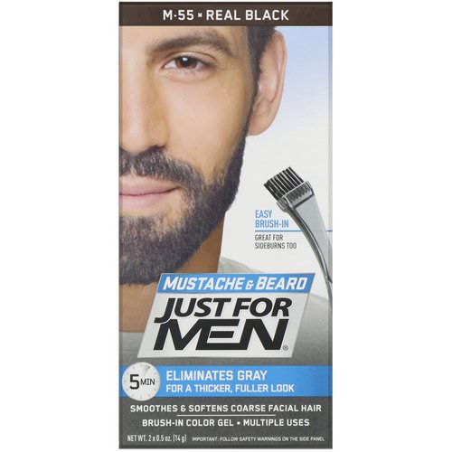 Just for Men, Mustache & Beard, Brush-In Color Gel, Real Black M-55, 2 x 0.5 oz (14 g) Review