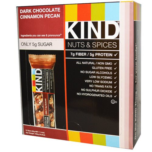 KIND Bars, Nuts & Spices, Dark Chocolate Cinnamon Pecan, 12 Bars, 1.4 oz (40 g) Review