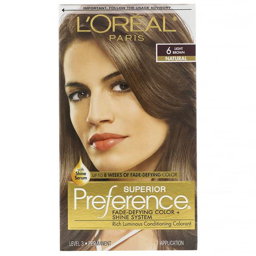 L'Oreal, Superior Preference, Fade-Defying Color + Shine System, Natural, Light Brown 6, 1 Application Review