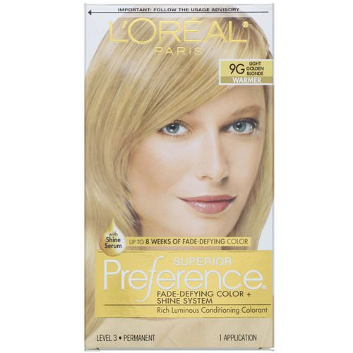 L'Oreal, Superior Preference, Fade-Defying Color + Shine System, Warmer, Light Golden Blonde 9G, 1 Application Review
