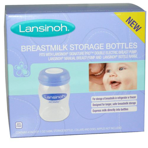 Lansinoh, Breastmilk Storage Bottles, 4 Bottles, 5 oz (160 ml) Each Review