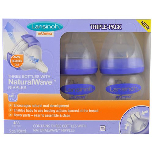 Lansinoh, Natural Wave Nipple Bottles, Slow Flow, 3 Bottles, 5 oz (160 ml) Each Review