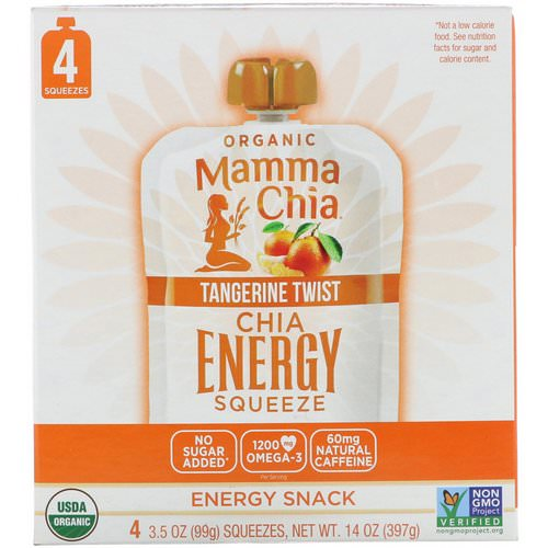 Mamma Chia, Organic Chia Energy Squeeze, Tangerine Twist, 4 Pouches, 3.5 oz (99 g) Each Review