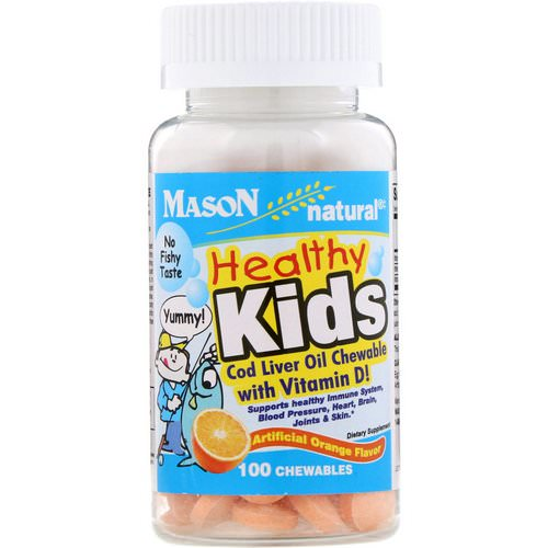 Mason Natural, Healthy Kids Cod Liver Oil Chewable with Vitamin D, Artificial Orange Flavor, 100 Chewables Review