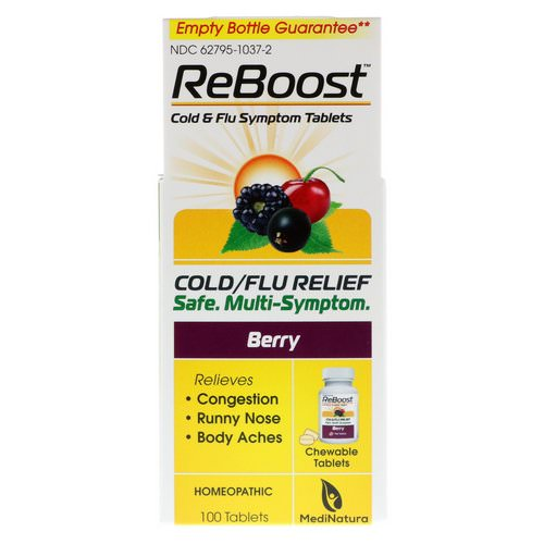 MediNatura, ReBoost, Cold/Flu Relief, Berry, 100 Chewable Tablets Review