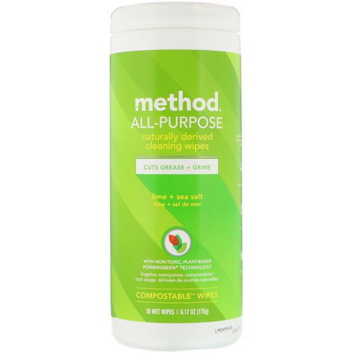 Method, All-Purpose, Naturally Derived Cleaning Wipes, Lime + Sea Salt, 30 Wet Wipes Review