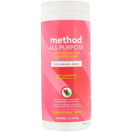 Method, All-Purpose, Naturally Derived Cleaning Wipes, Pink Grapefruit, 30 Wet Wipes Review